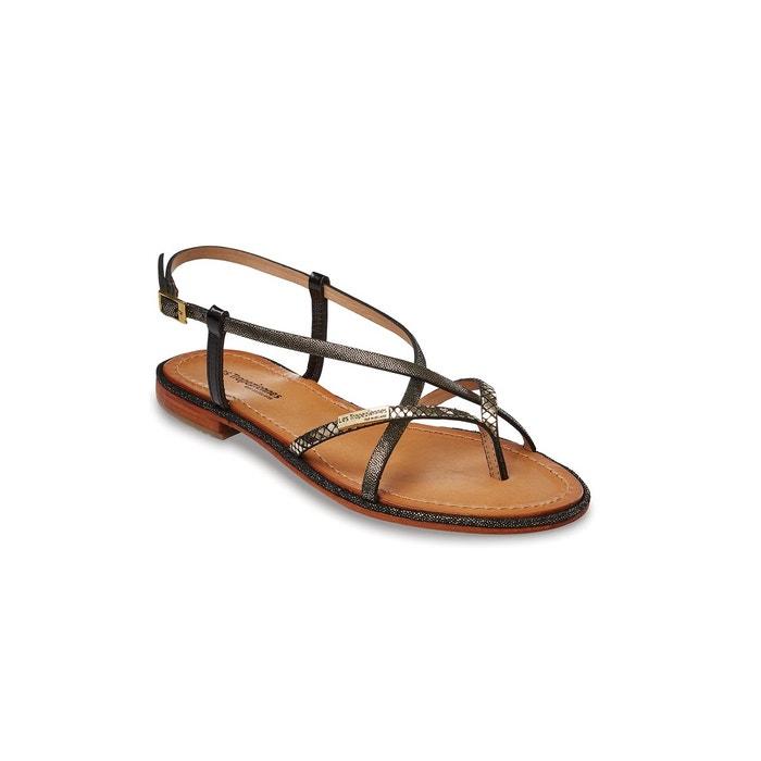 Sandales cuir monaco noir/or Les Tropeziennes Par M Belarbi