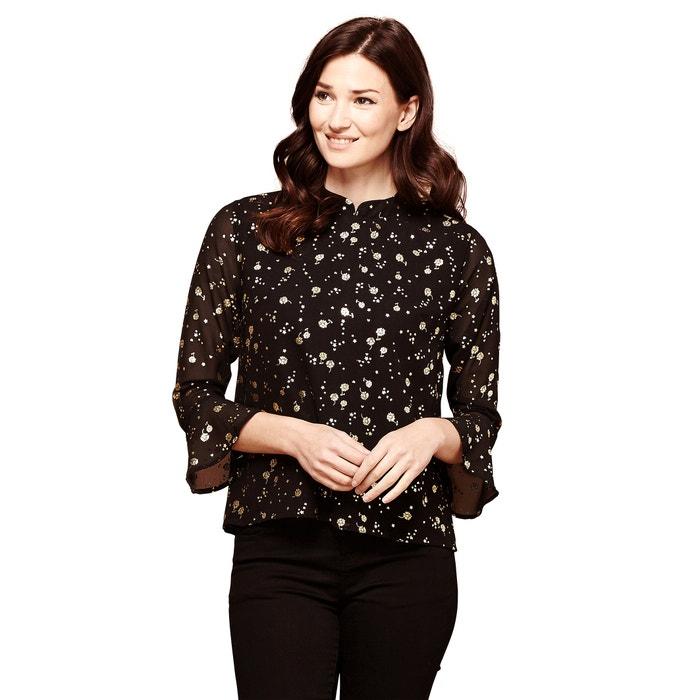 bluse mit blumen print und hemdkragen schwarz goldfarben yumi la redoute. Black Bedroom Furniture Sets. Home Design Ideas