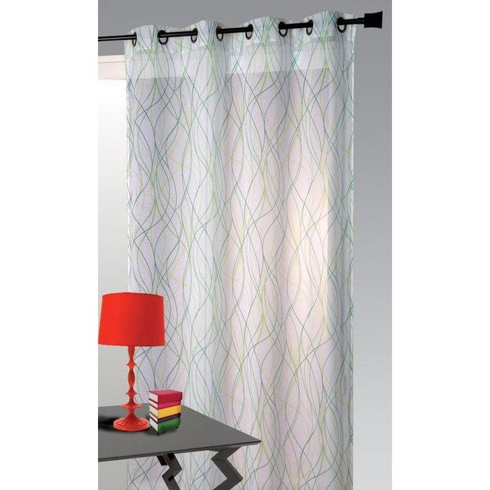 voilage etamine lianes blanc vert blanc vert home maison la redoute. Black Bedroom Furniture Sets. Home Design Ideas
