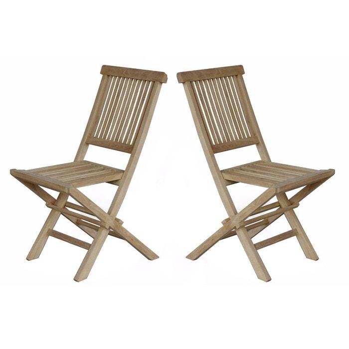 Lot de 2 chaises de jardin en bois de teck brut pliantes bois bois dessus boi - Dessus de chaise en bois ...