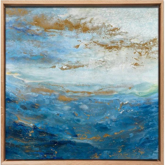 Tableau mer nuages abstraits caisse américaine en chêne massif 80x80cm pier import image 0
