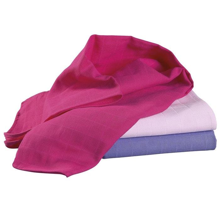 bornino lot de 3 carr s polyvalents couche en tissu rose rose vif pourpre bornino la redoute. Black Bedroom Furniture Sets. Home Design Ideas