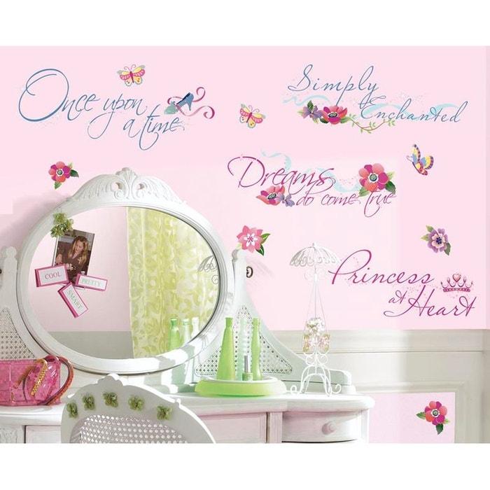 Stickers phrase disney chambre princesse multicolor Room Mates | La ...