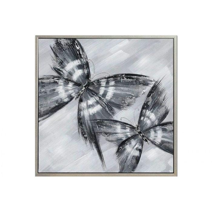 tableau papillons tons blancs et gris toile avec cadre 80x80cm blanc gris pier import la redoute. Black Bedroom Furniture Sets. Home Design Ideas