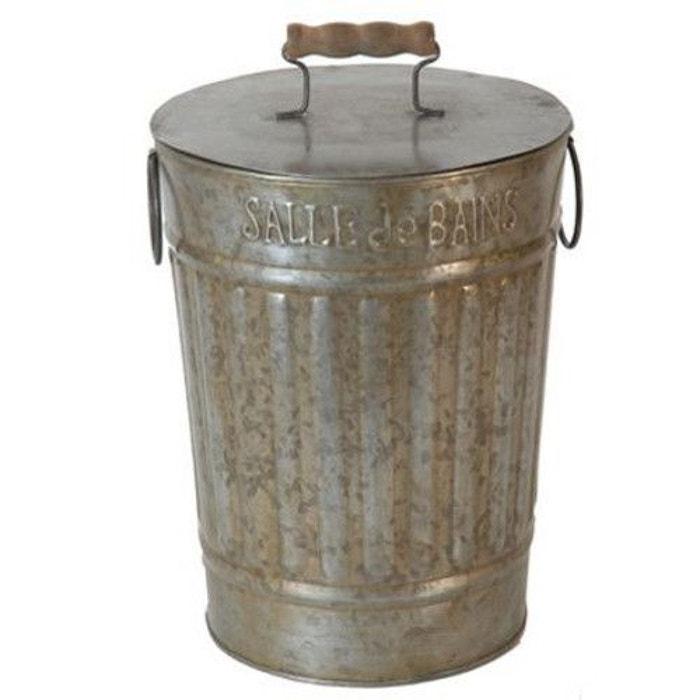 Poubelle de salle de bain à l\'ancienne en zinc et bois naturel ...