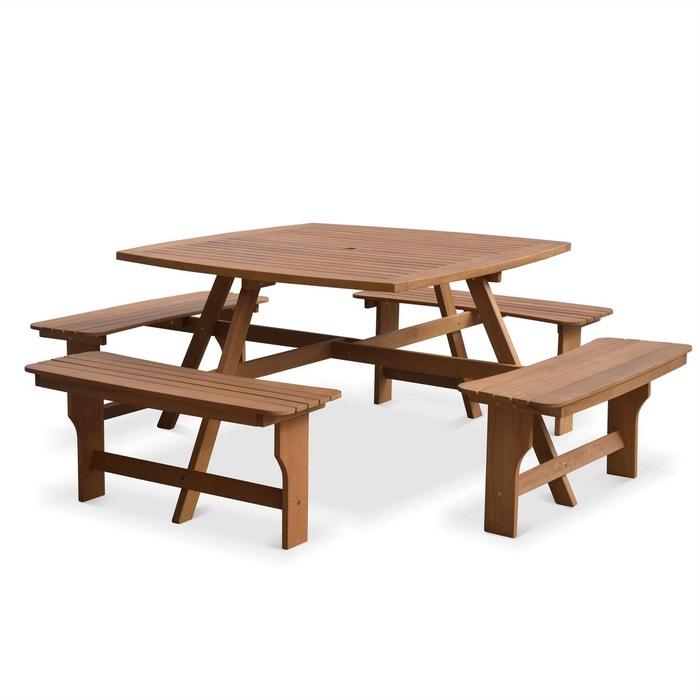 Table de pique nique llanca 120cm carr e avec 4 bancs salon de jardin en boi - Table jardin la redoute ...