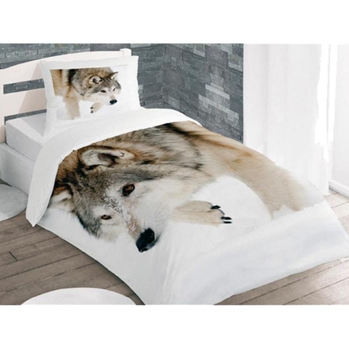 Parure de lit wolf 140 x 200 cm couleur unique cbk la - Housse de couette une place ...