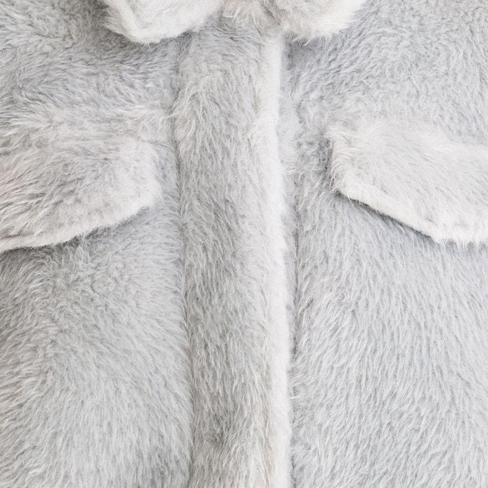 Manteau court imitation fourrure colbie jacket bleu ciel