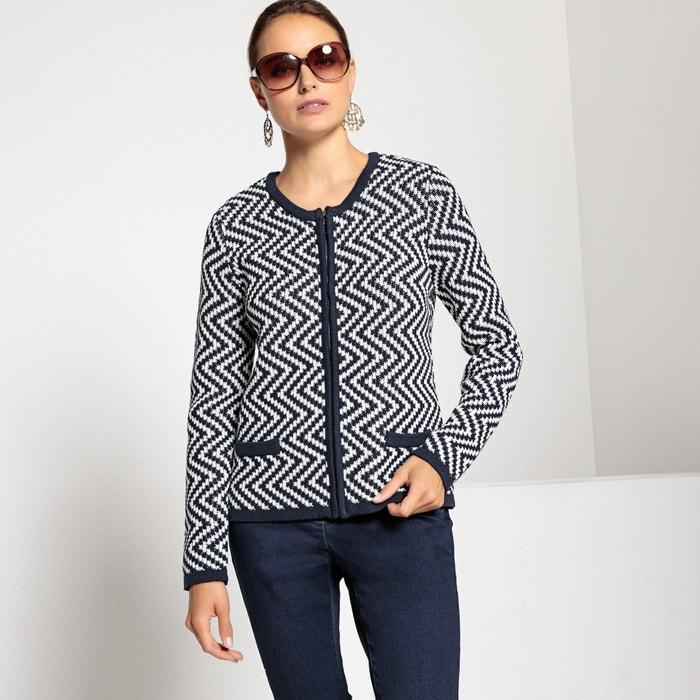 Cardigan jacquard, maglia grossa, chiusura con cerniera  ANNE WEYBURN image 0