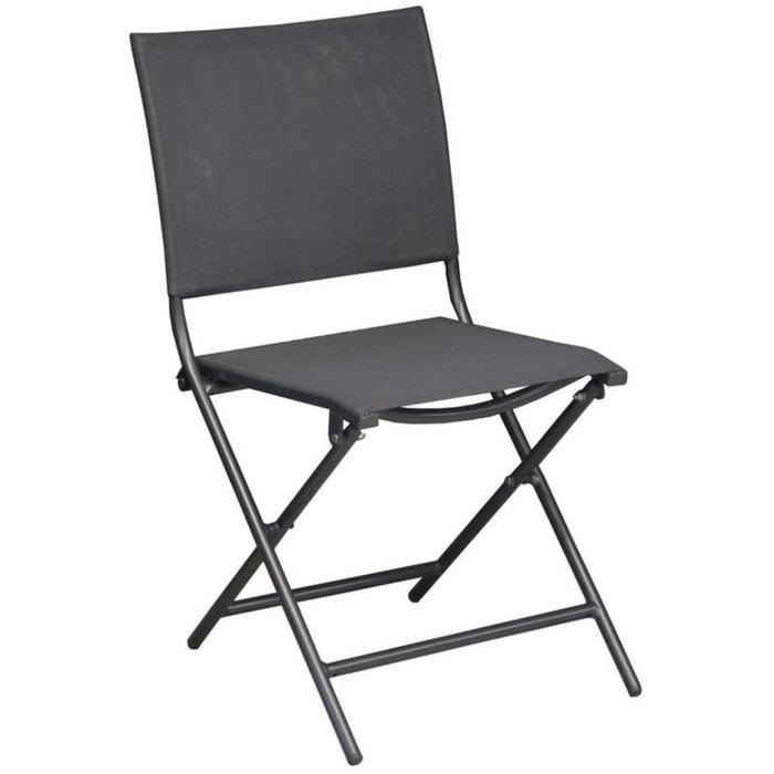 chaise pliante en acier et toile globe lot de 6 proloisirs la redoute. Black Bedroom Furniture Sets. Home Design Ideas