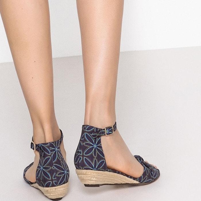 Sandales imprimées talon compensé bleu multicolore La Redoute Collections