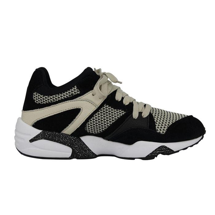 Puma blaze tech chaussures mode sneakers homme cuir suede noir beige trinomic beige Puma