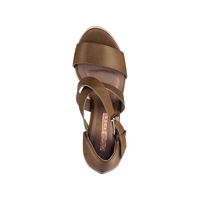 Sandales talon compensé 314034 vert kaki Buffalo