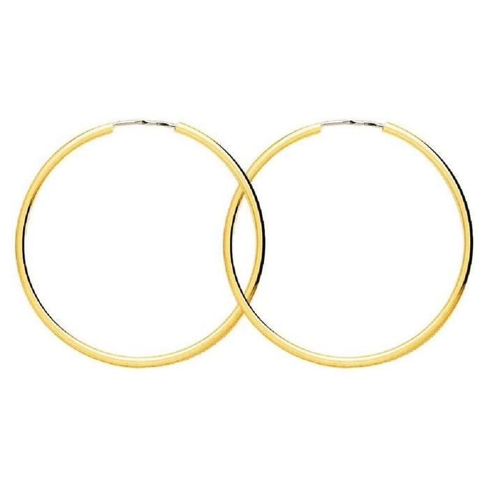 Boucles d'oreilles femme créoles diamètre 35 mm fil rond 1,6 mm or jaune 750/000 (18 carats) couleur unique So Chic Bijoux | La Redoute