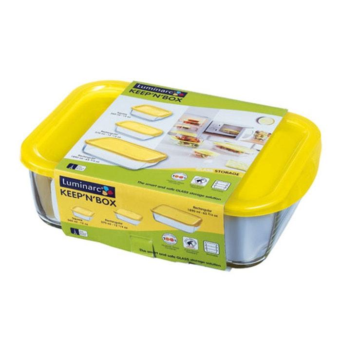 bo te herm tique jaune en verre keep 39 n 39 box vendue par 3. Black Bedroom Furniture Sets. Home Design Ideas