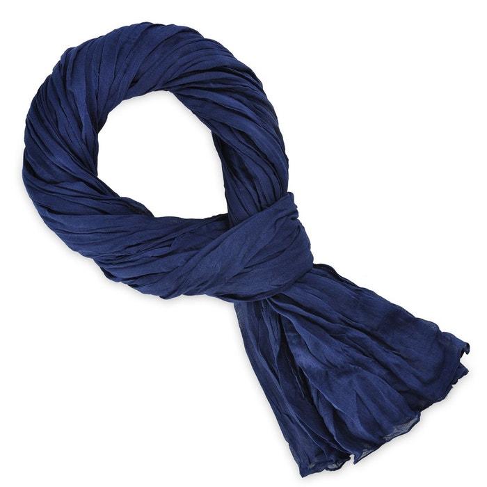 Chèche coton bleu marine uni bleu Allee Du Foulard   La Redoute 64bfc054bb2