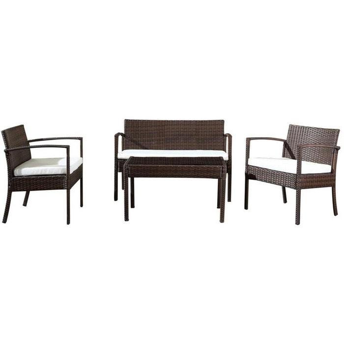 Salon de jardin canapé, fauteuils et table Jardindeco | La Redoute