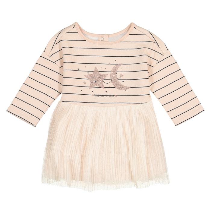 Платье из мольтона в полоску и тюля, 1 мес. - 3 года  La Redoute Collections image 0