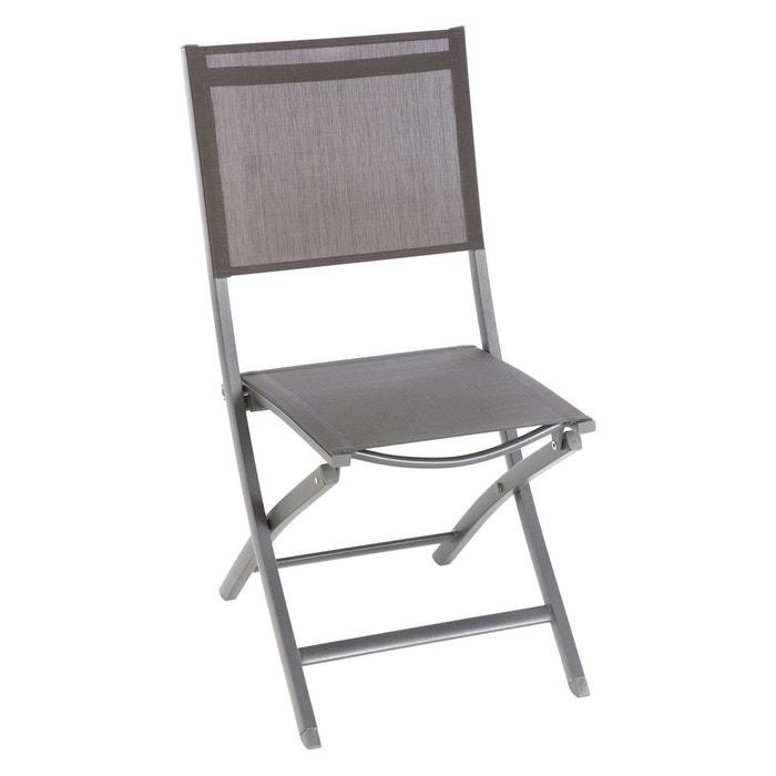 chaise de jardin pliante essentia aluminium et texaline gris clair hesperide image 0 - Chaise Aluminium