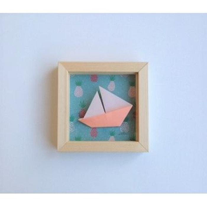 cadre origami bateau corail 11x11 cm corail alfred et compagnie la redoute. Black Bedroom Furniture Sets. Home Design Ideas