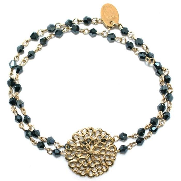 Bracelet plaqué or et perles de cristal marilyn noir Oscar Bijoux | La Redoute vue braderie Achat Vente Pas Cher BH6G17nV