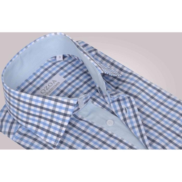 Chemisette et avec homme gris ciel intérieur carreaux poche à bleus nIIwqr1