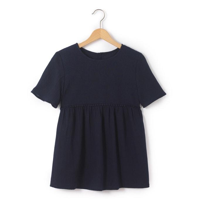Купить Блузка однотонная с круглым вырезом, с короткими рукавами La Redoute Collections