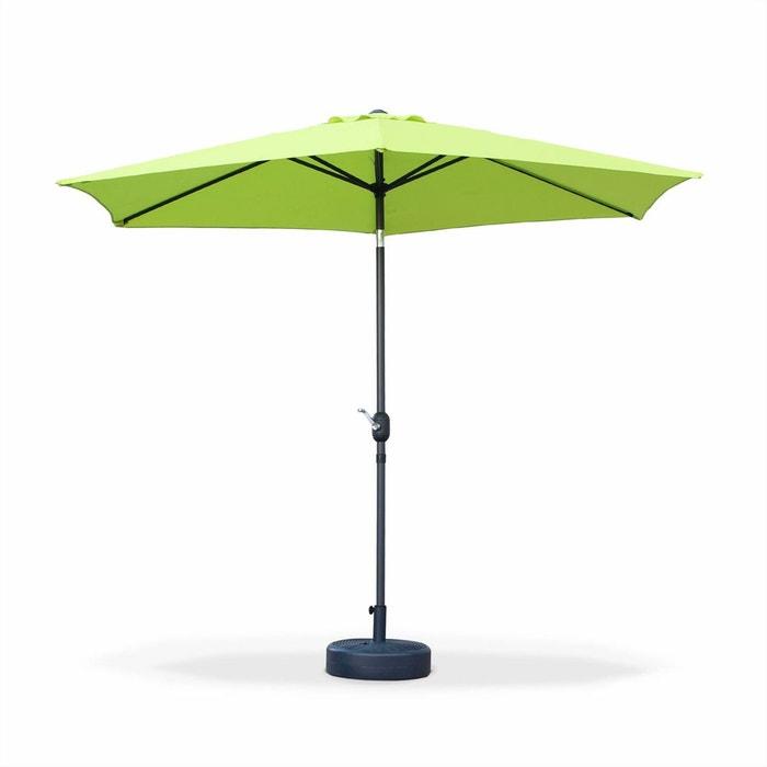 parasol droit touquet rond 300cm vert pomme m t central aluminium orientable et manivelle d. Black Bedroom Furniture Sets. Home Design Ideas