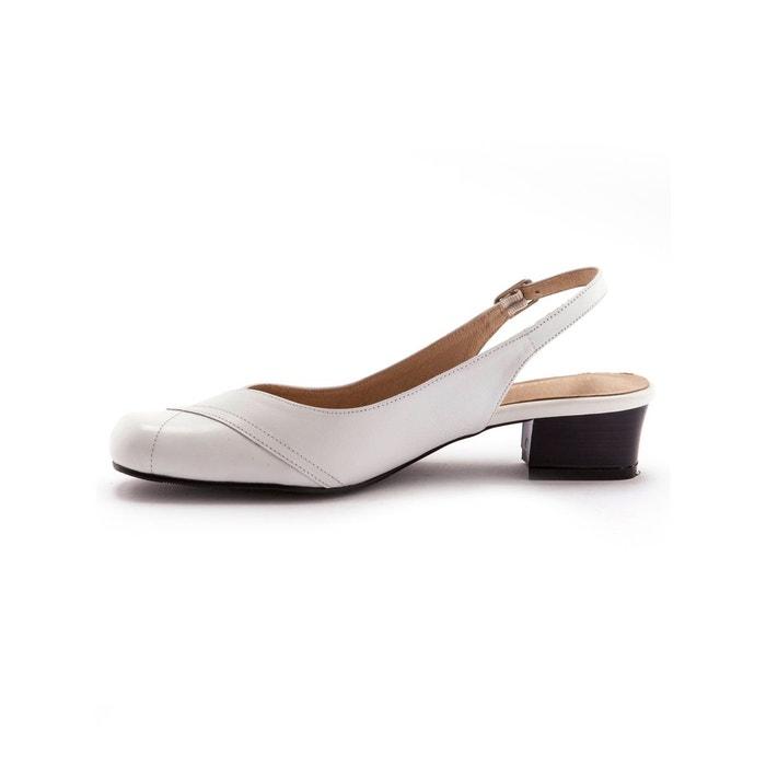 Sandales bicolores, talon 4,5 cm blanc bicolore Pediconfort ...
