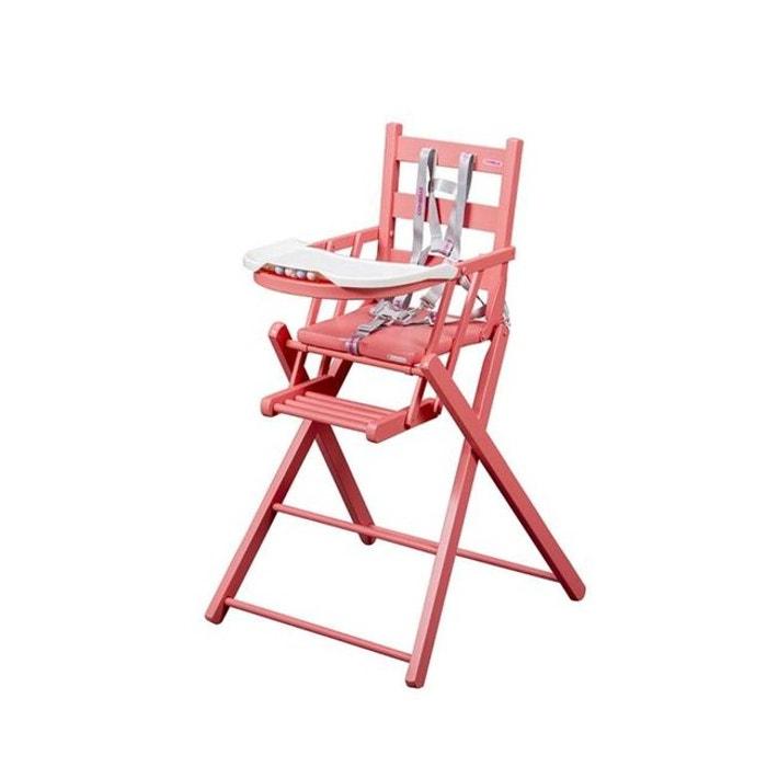 Chaise haute b b sarah extra pliante laqu e rose combelle for Chaise haute combelle extra pliante