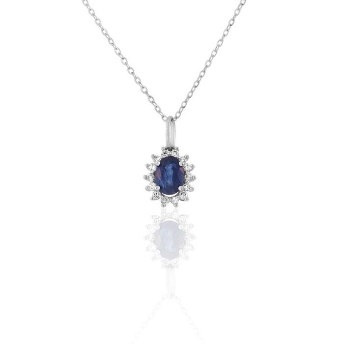 0c287a7d23d0b Collier or 750 1000 saphir bleu Cleor   La Redoute