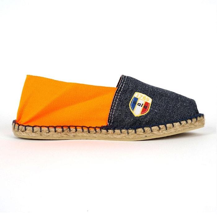 Espadrilles en toile jean et orange fluo - made in france multicolore 1789 Cala