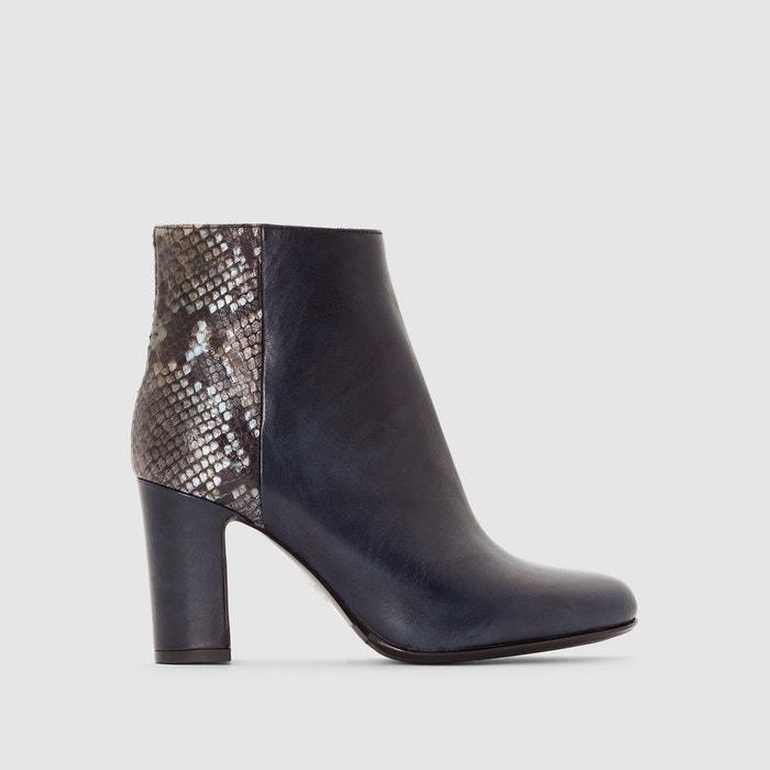 boots cuir talon haut dinah bleu heyraud la redoute. Black Bedroom Furniture Sets. Home Design Ideas