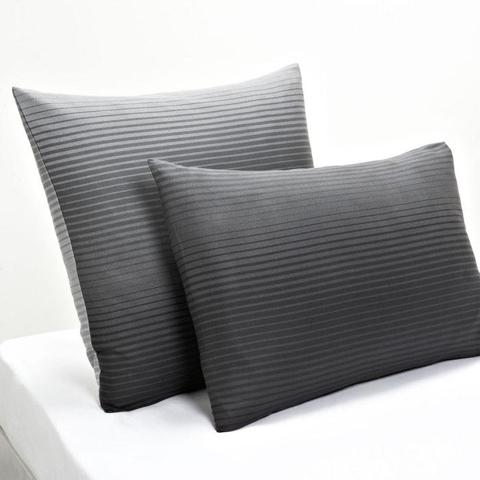 taie d 39 oreiller en satin de coton rayados gris la redoute interieurs la redoute. Black Bedroom Furniture Sets. Home Design Ideas