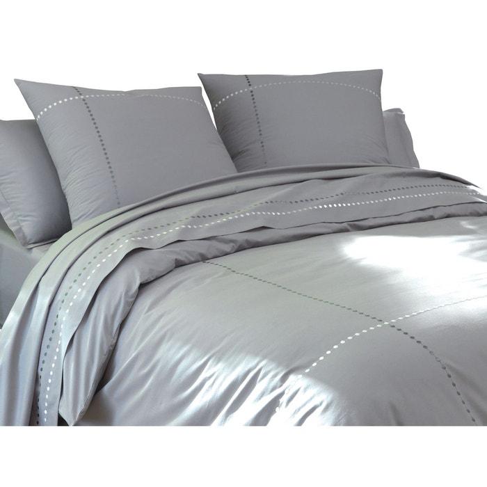drap plat gris percale 80 fils cm brod gris blanc cerise la redoute. Black Bedroom Furniture Sets. Home Design Ideas