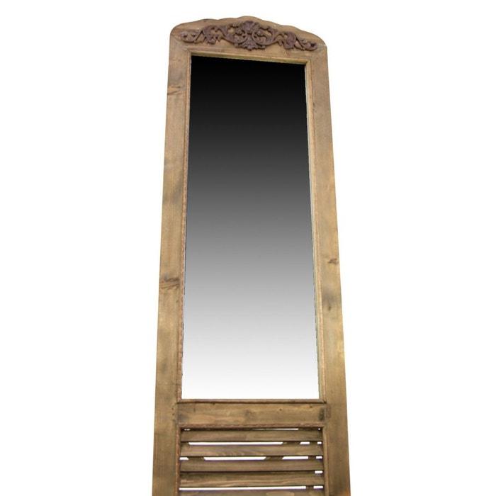 Miroir ancien rectangulaire vertical sur pied bois 48 5x5x170cm