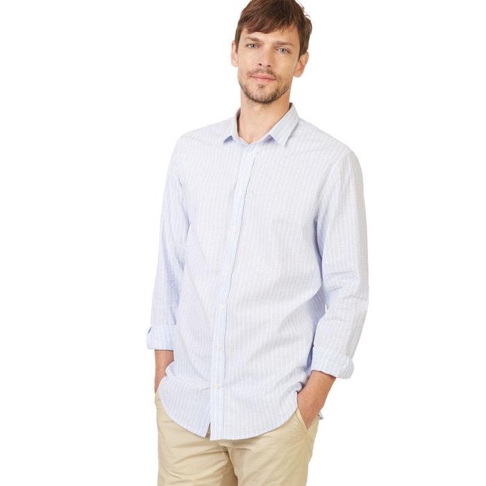 chemise coupe slim en coton et lin bleu monoprix la redoute. Black Bedroom Furniture Sets. Home Design Ideas