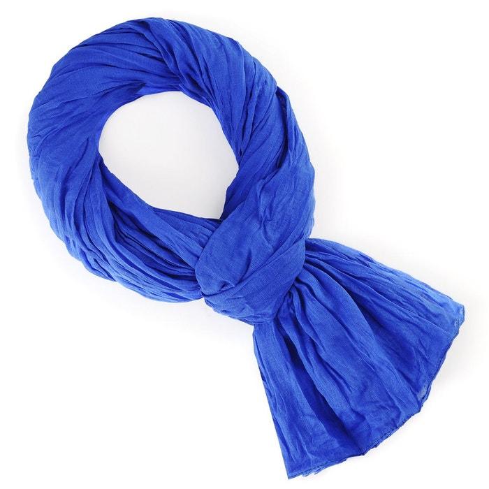 Chèche coton bleu roi uni bleu Allee Du Foulard   La Redoute 476ce526620