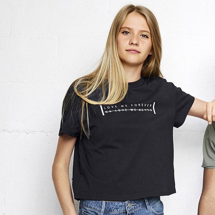 t shirt court imprim 10 16 ans noir la redoute collections la redoute. Black Bedroom Furniture Sets. Home Design Ideas