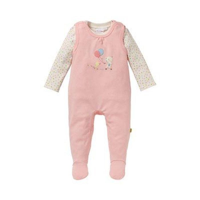 Bornino ensemble grenouillère bébé ensemble bébé rose écru motifs Bornino  0ab54da3ce5