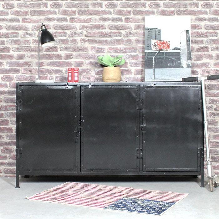 enfilade industrielle 3 portes noire maj9n metal noir made in meubles la redoute. Black Bedroom Furniture Sets. Home Design Ideas