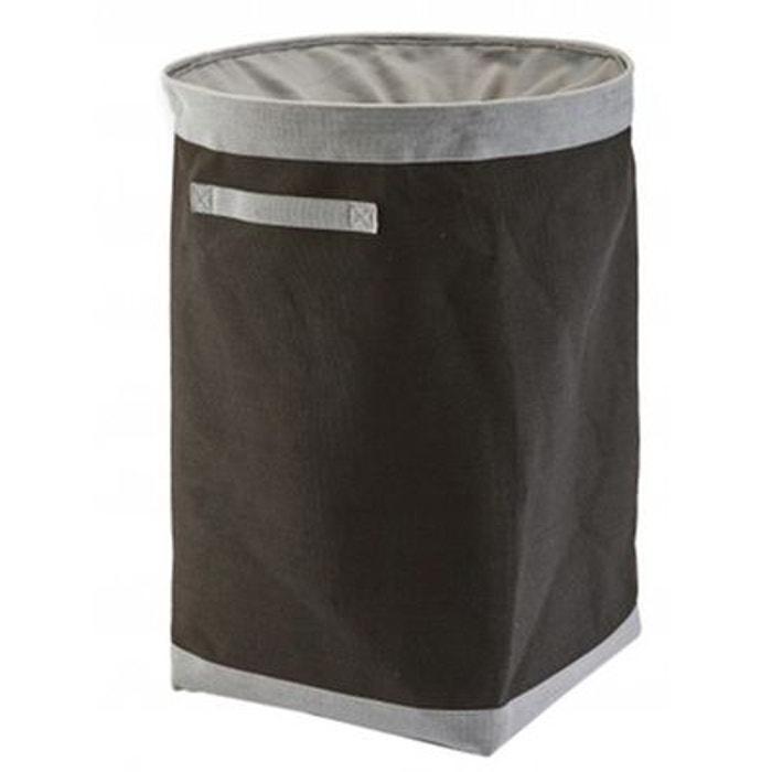 grand panier linge gris anthracite et gris clair en coton et polyester haut 70cm gris. Black Bedroom Furniture Sets. Home Design Ideas