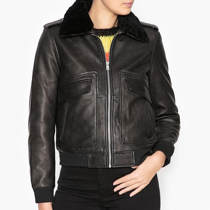 Image Josh Zip-Up Leather Bomber Jacket BA&SH