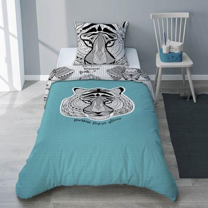 parure housse de couette et taie enfant tigre turquoise pour gar on animaux totem bleu selene. Black Bedroom Furniture Sets. Home Design Ideas