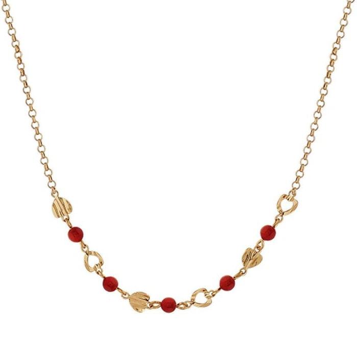 Collier femme longueur réglable: 40 à 44,5 cm coeurs plissés perle rouge plaqué or 750 couleur unique So Chic Bijoux | La Redoute