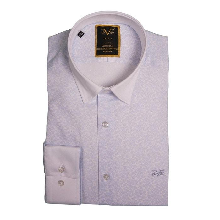 0cd9a317552 Chemise homme blanche imprimé cashmere bleu ciel col blanc avec sa pochette  cadeau blanc Versace 19.69