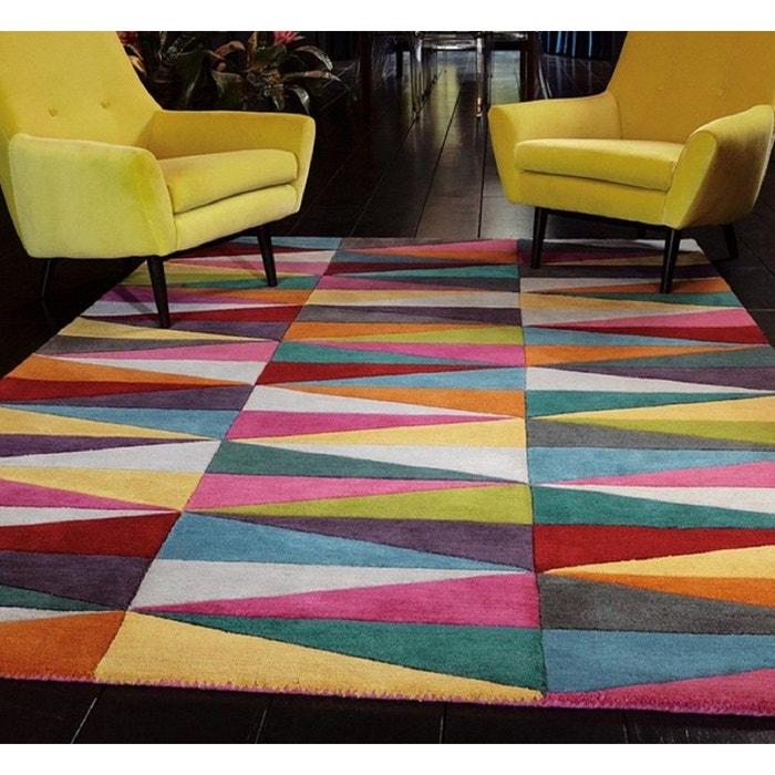 Tapis de salon pure laine couleurs flashy triangles multicolore ...