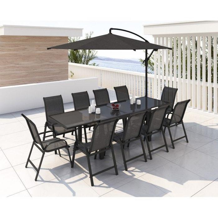 Table de jardin aluminium extensible, 140/280 cm, 10 fauteuils ...