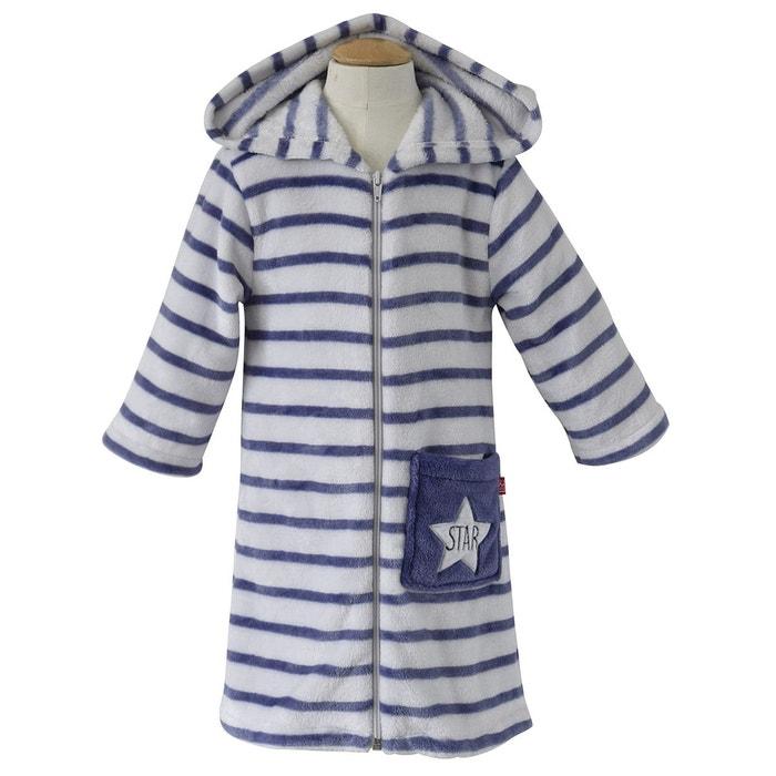 f9a0fda2b383f Robe de chambre rayée à capuche blanc Sucre D'orge | La Redoute