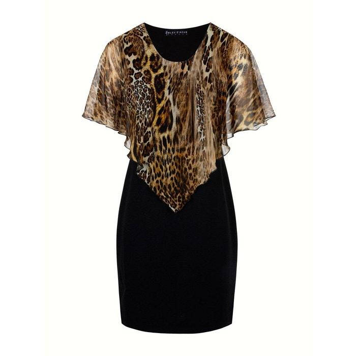 Mode Fourreau D'azur Robe Leopard Donna Voile Bleu Femme Noire Noir 676ZwqI